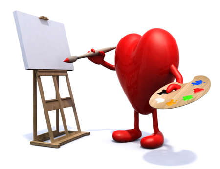 artist painting: heart organ with arms and legs painter, with brush, palette and easel