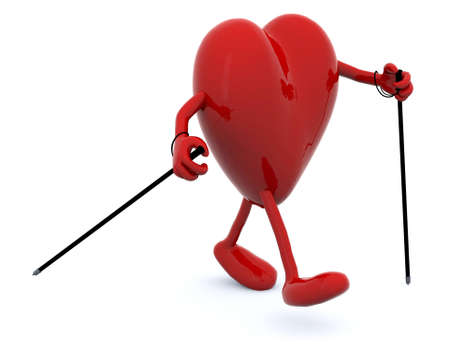 heart with arms and legs, hes walking with sticks, fitness concepts. Stock Photo