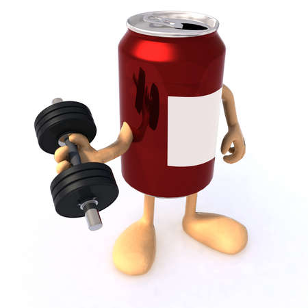 canned drink: tin can with arms and weight, concept of energy drink Stock Photo