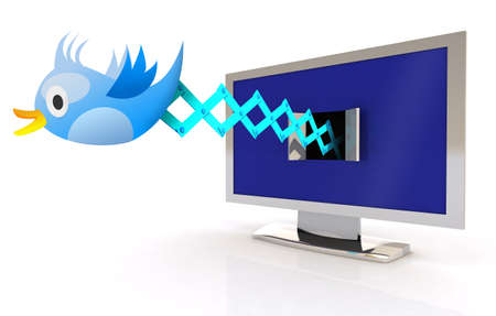 tweets: Blue Bird Cuckoo tweets and sings on television screen, 3d illustration Stock Photo