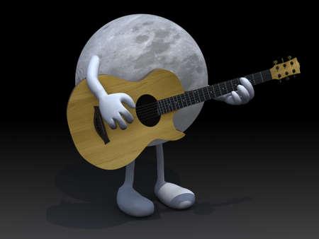 serenata: luna con los brazos y las piernas tocando una guitarra, el concepto de amor serenata. Foto de archivo