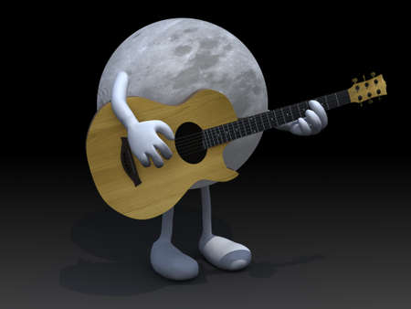 serenade: moon with arms and legs playing a guitar, love serenade concept. Stock Photo