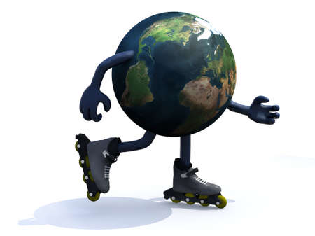 rollerskates: earth with arms, legs and rollerskates, 3d illustration