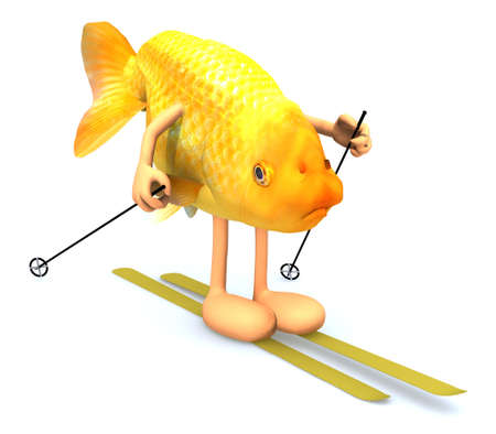 piste: gold fish with arms and legs, ski and stick, 3d illustration Stock Photo