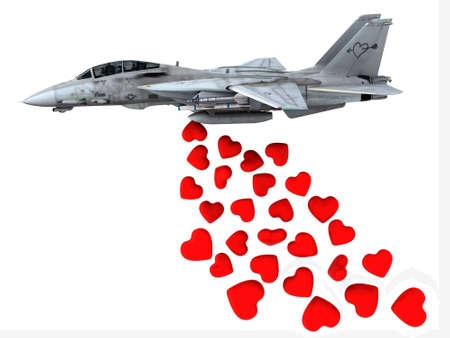 make love: warplane launching hearts instead of bombs, make love not war concepts Stock Photo