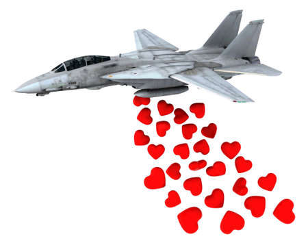 love explode: warplane launching hearts instead of bombs, make love not war concepts Stock Photo