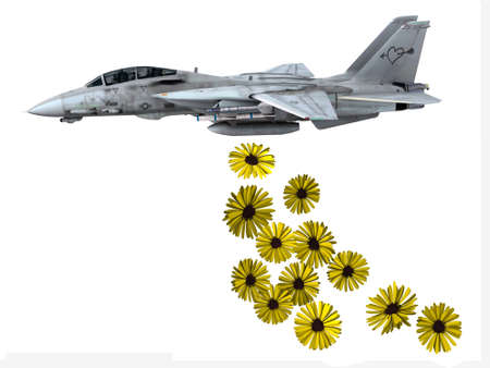 dropping: warplane launching yellow flowers instead of bombs, make love not war concepts Stock Photo