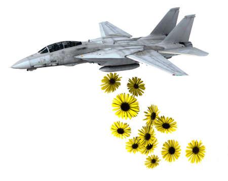 hacer el amor: avión de combate lanzando flores amarillas en lugar de bombas, hacer el amor y no la guerra conceptos