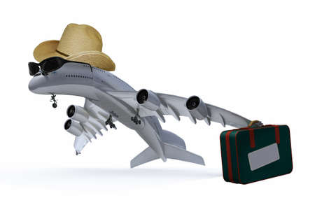 last minute: plane with hat, sunglasses and bag that is leaving, 3d illustration Stock Photo