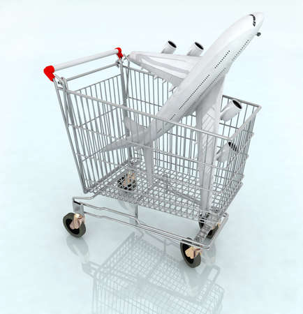 pushcart: airplane on the shopping cart, 3d illustration