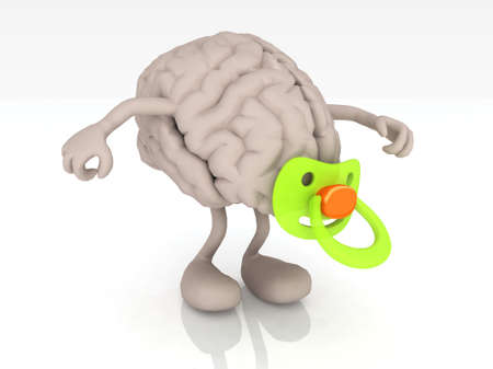 human brain with arms legs and pacifier, 3d illustration Archivio Fotografico