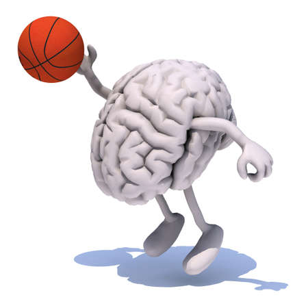 human brain with his arms and legs playing basketball, 3d illustration Imagens
