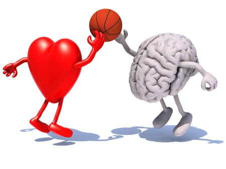 hart en de hersenen met armen en benen spelen van een basketbal, 3d illustratie