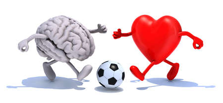 human brain and heart with his arms and legs running to a soccer ball, 3d illustration illustration