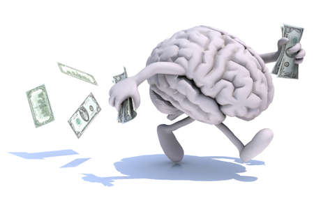run off: human brain with arms and legs run away with dollar notes on hands, 3d illustration