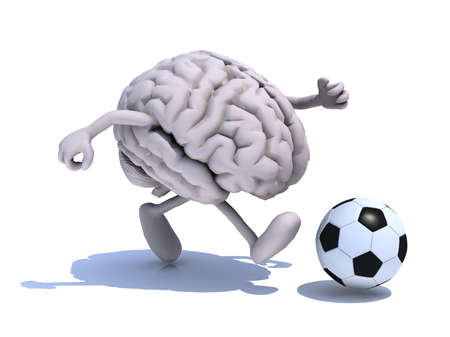 human brain with his arms and legs running with a football, 3d illustration