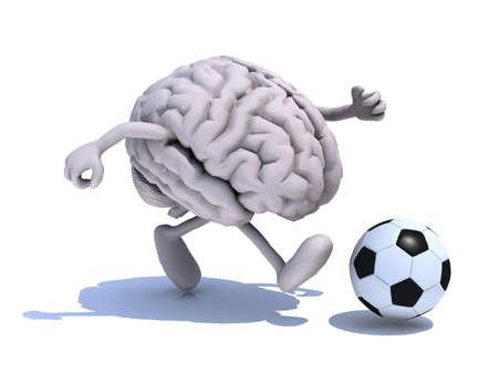 menselijk brein met zijn armen en benen lopen met een voetbal, 3d illustratie