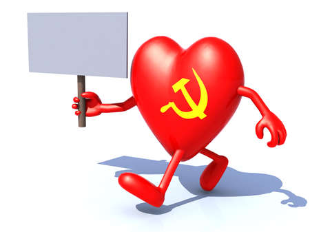 Communist: heart with arms and legs and communist symbol, 3d illustration Stock Photo
