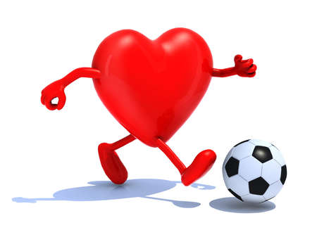 heart with arms and legs run away to soccer ball, 3d illustration