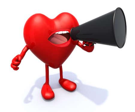 loudhailer: coraz�n con los brazos, las piernas, la boca que grita en el meg�fono, 3d Foto de archivo