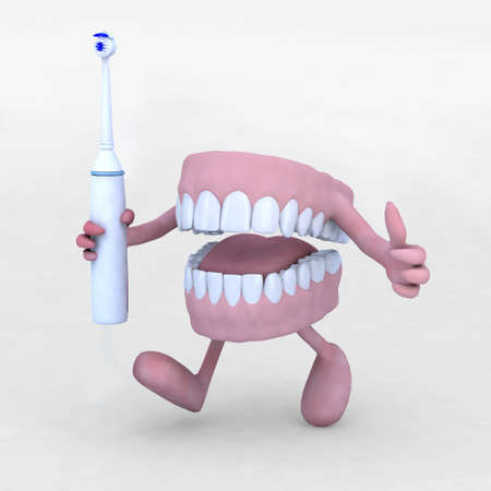 dentist concept: open denture cartoon with arms, legs and electric tootbrush, 3d illustration Stock Photo