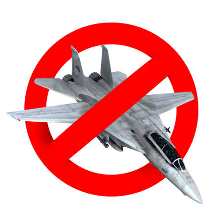 f18: prohibition road sign airplane fighter, 3d illustration