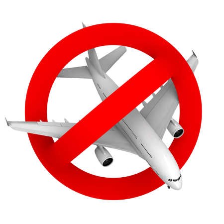 trip hazard: prohibition road sign airplane, 3d illustration Stock Photo
