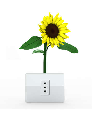 sunflower over energy plug on white background, 3d illustration illustration
