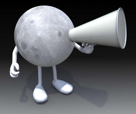 loudhailer: luna con los brazos, las piernas, la boca que grita en meg�fono, 3d Foto de archivo
