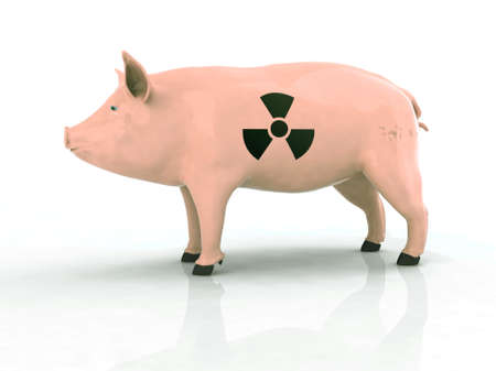 pig with radioactive symbol on the skin, 3d illustration illustration