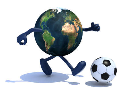 cartoon world: planet earth with arms and legs run away to soccer ball, 3d illustration Stock Photo
