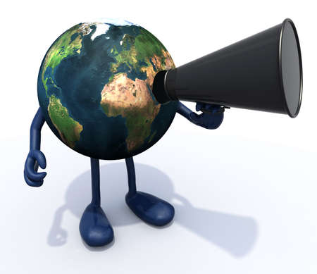loudhailer: earth with arms, legs, mouth that shout into loudhailer, 3d illustration Stock Photo
