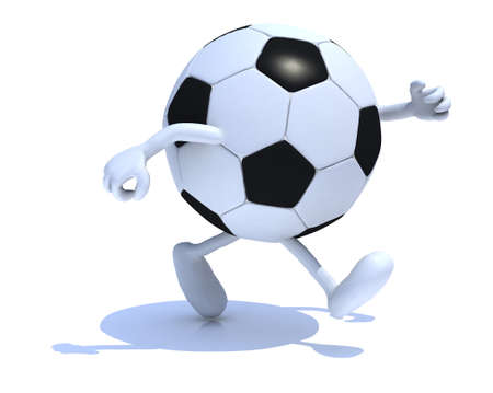 kicking ball: soccer ball with arms and legs run away, 3d illustration