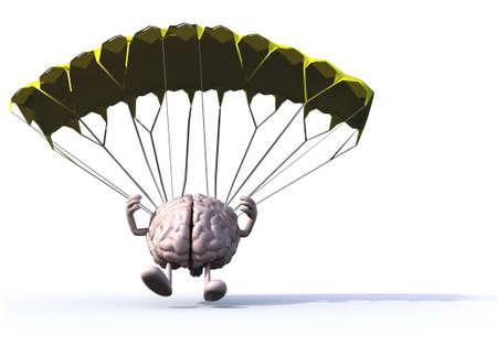 parachutist: human brain that is landing with parachute, 3d illustration Stock Photo
