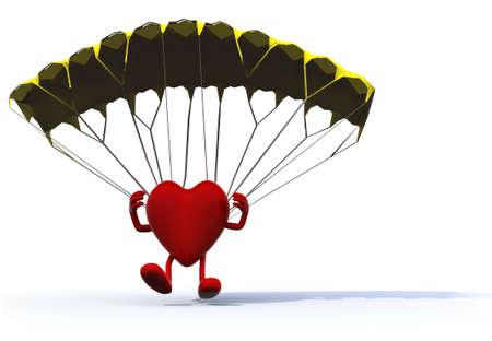 parachuting: heart that is landing with parachute, 3d illustration