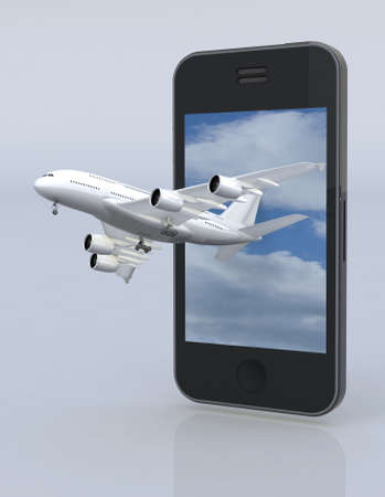 check in: smartphone and airplane, 3d illustration Stock Photo