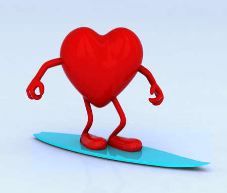 surf team: red heart with arms and legs on surf board, 3d illustration Stock Photo