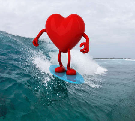 heart with arms and legs surfing on the sea, 3d illustration illustration