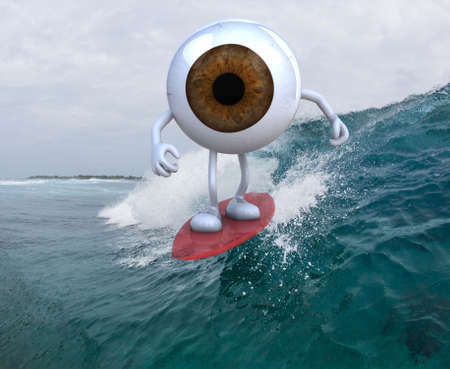 eyeball with arms and legs surfing on the sea, 3d illustration  illustration