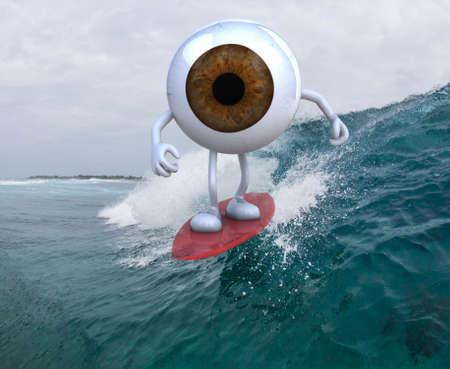 globo ocular: ojo con los brazos y las piernas de surf en el mar, ilustración 3d