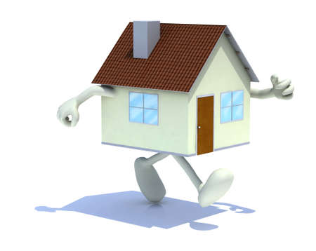 home with arms and legs walking, 3d illustration illustration