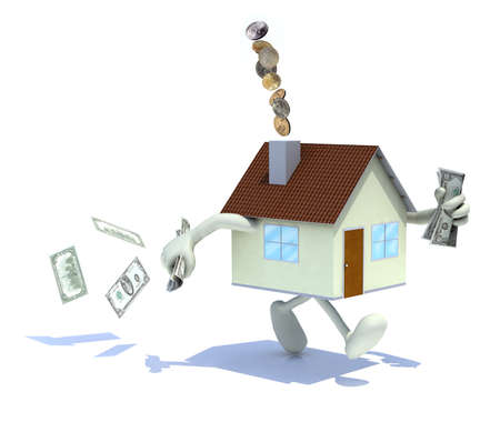 chimney: home with arms and legs, dollar banknotes at hand and out of the chimney, 3d illustration
