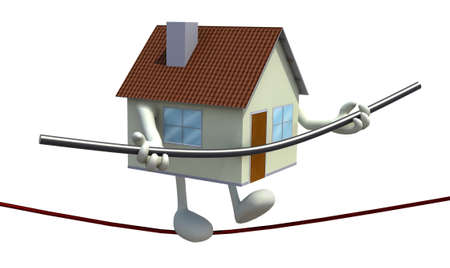 home with arms and legs acrobat who walks on a wire, concept of a home insurance photo