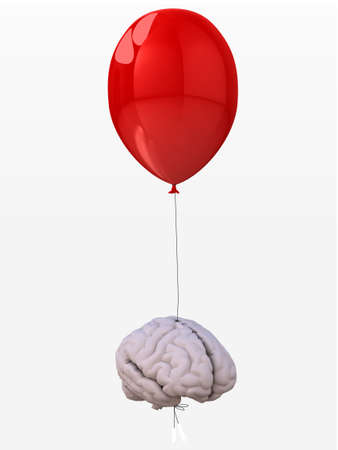 human brain tied to a red balloon that flies, 3d illustration Stock Illustration - 23006495