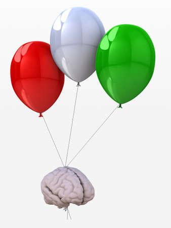 human brain tied to a balloons that flies, 3d illustration Stock Illustration - 23006496