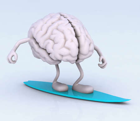 human brain with arms and legs on surf board, 3d illustration illustration