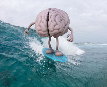 surfing beach: human brain with arms and legs surfing on the sea, 3d illustration