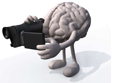autofocus: human brain with arms, legs and digital video camera while framing