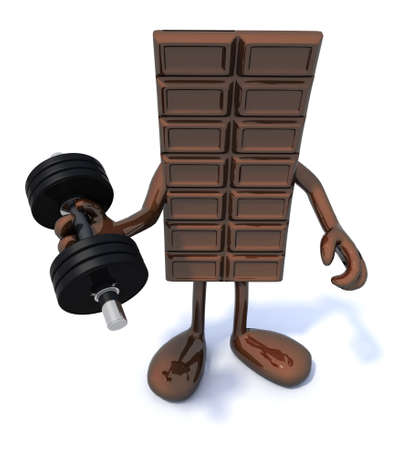 temptation: tablet of chocolate with arms and legs does weight training Stock Photo