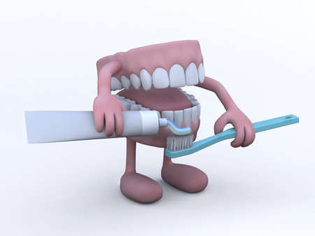 fluoride toothpaste: open denture with arms, legs and toothpaste tube and toothbrush, 3d illustration